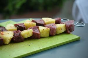 Brochettes de canard  l&#8217;ananas