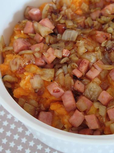 purée de légumes au jambon