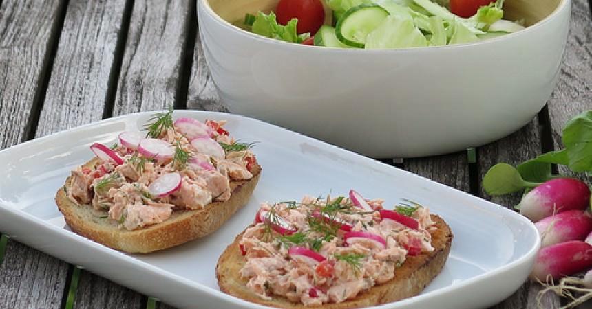 Tartines de pain aux céréales, rillettes de saumon à l'aneth