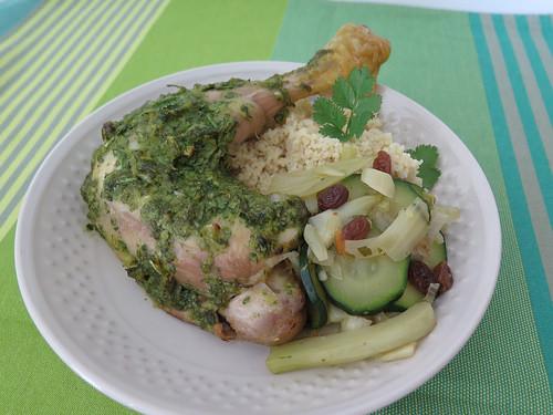 Poulet à la coriandre, couscous de légumes