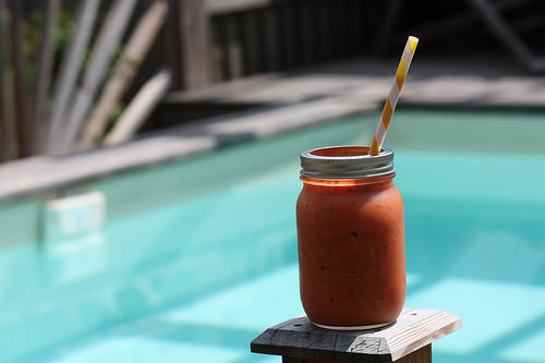 Soupe glacée tomate & basilic