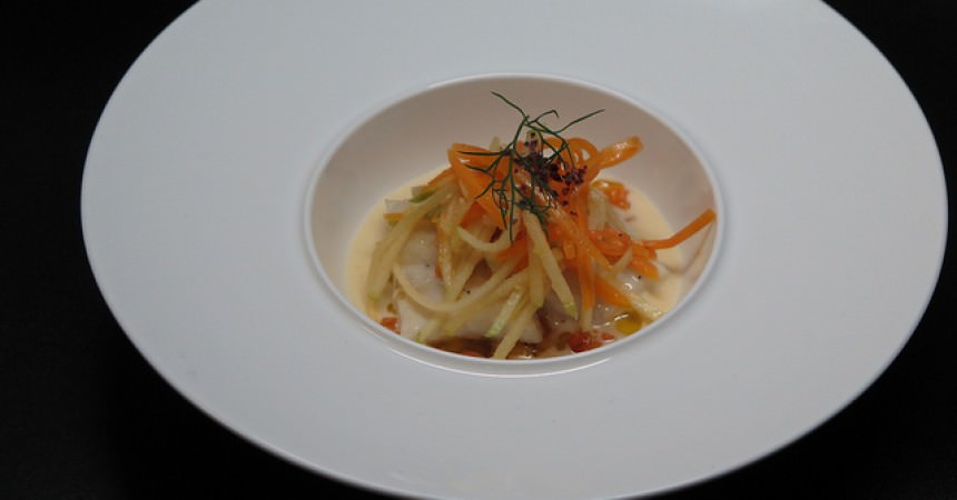 Turbot, poêlée de potimarron au lard de Colonnata & beurre blanc