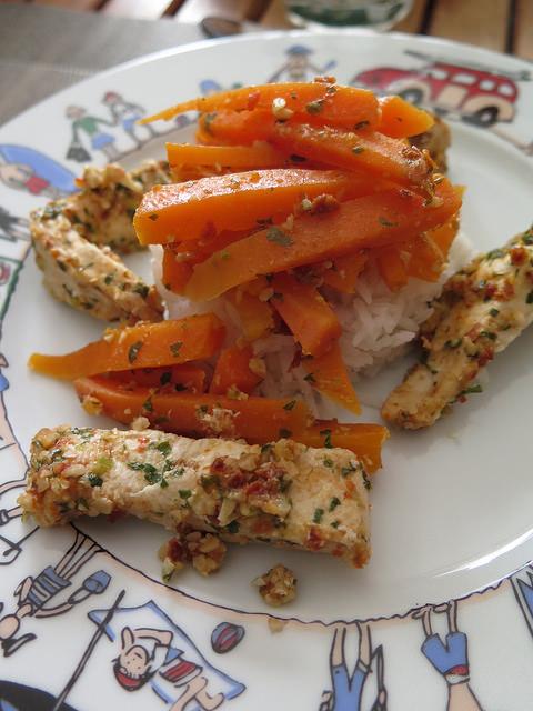Poulet & carottes au pesto de tomates