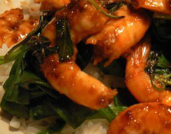 Crevettes sautées aux épinards