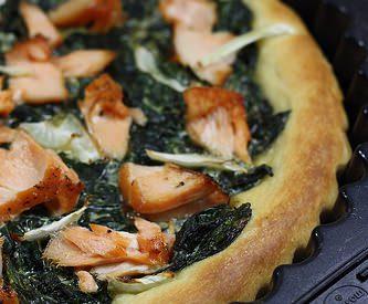 La tarte / pizza aux épinards et saumon