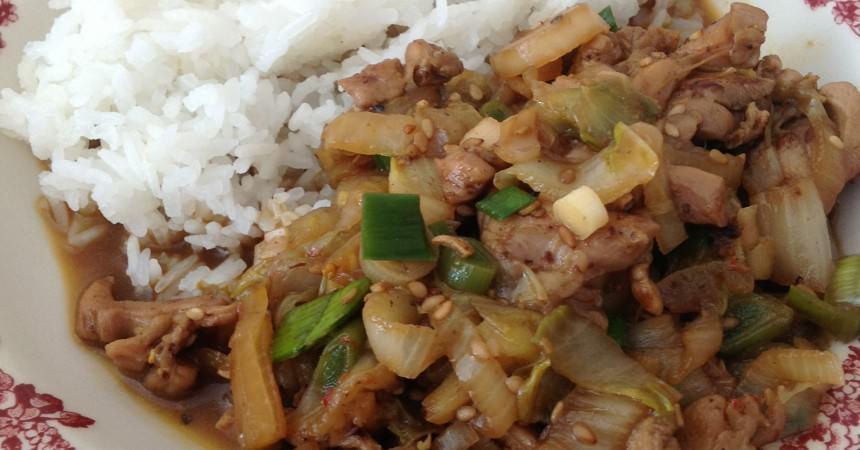 Wok de poulet au chou chinois ma p 39 tite cuisine - Cuisiner du chou chinois ...
