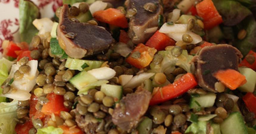 Salade de lentilles aux gésiers de canard