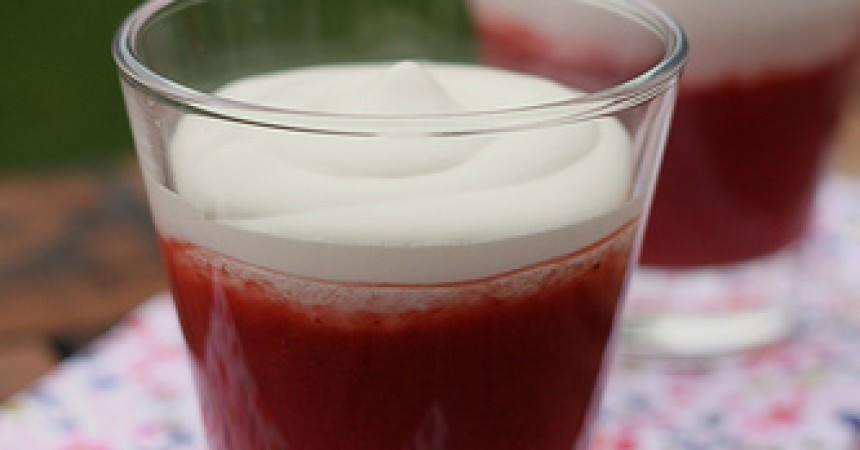 Soupe de fraises & framboises, crémeux au mascarpone