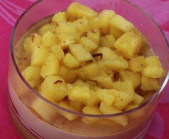 Mousses au chocolat caramel & ananas au Rhum et à la vanille