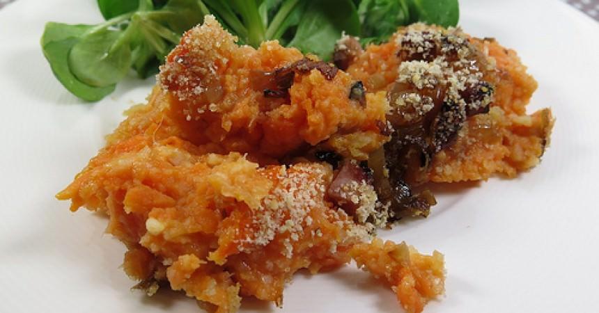 Purée de légumes gratinée, dés de jambon au miel