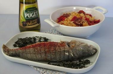 Daurade du Bassin d'Arcachon, huile d'olive & piment d'Espelette, riz sauté aux piments doux des landes et chorizo