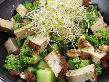 P'tite salade de curly kale au tofu fumé