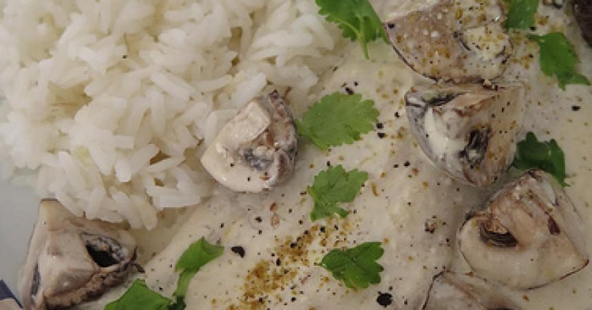 Filet de maigre, crème & champignons