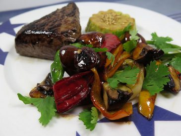 Pavé de Rumsteck au poivre, légumes plancha