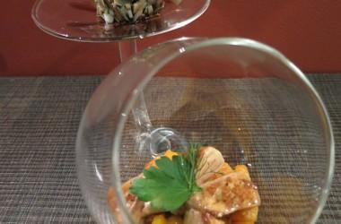 Foie gras poêlé, pleurottes & potimarron au pralin