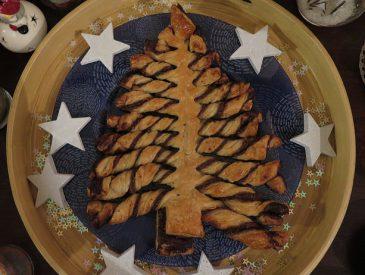Sapin de Noël feuilleté au chocolat
