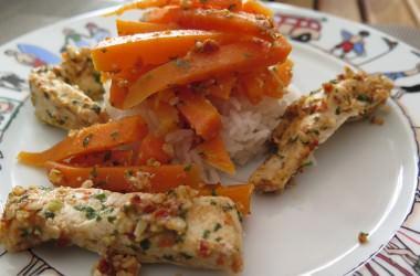 Poulet & carottes au pesto de tomates [Microvap Tupperware]