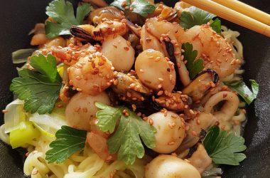 Wok de fruits de mer à la Coréenne