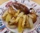 Saucisses de Toulouse aux légumes rôtis & pommes