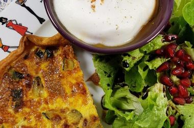 Quiche tofu & courgettes et cappuccino de légumes