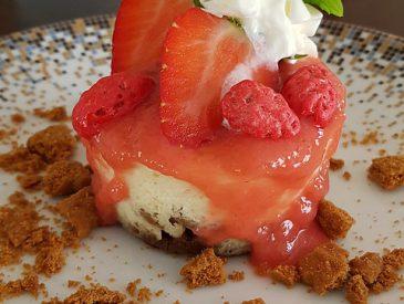 Cheesecake, rhubarbe fraise