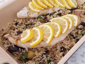 Filet de poisson, riz aux aubergines & cumin