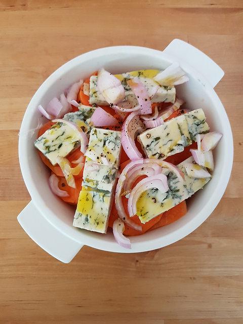 Le lundi c'est veggie : gratin patate douce & courge butternut au gorgonzola