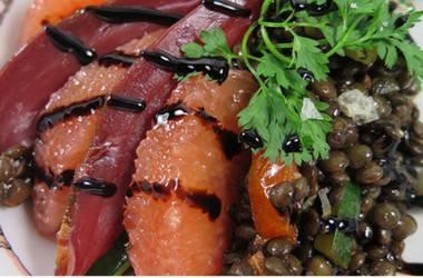 Salade de lentilles au magret fumé