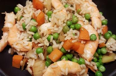 Mon riz sauté aux crevettes, carottes & fenouil