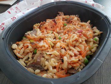Spaetzle express aux légumes et lardons