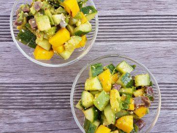 Salade mangue & magret fumé
