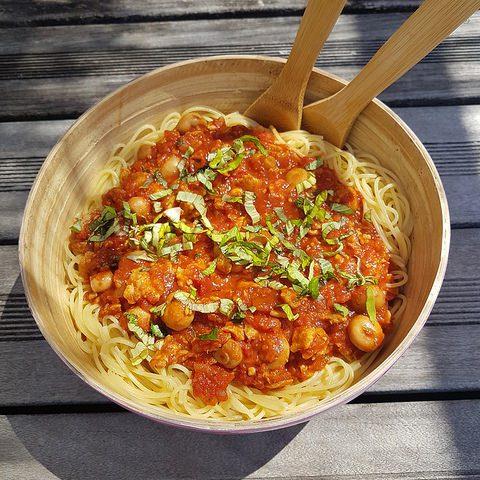 Spaghettis veggie soja & champignons