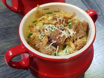 Soupe gratinée oignons rouges et butternut
