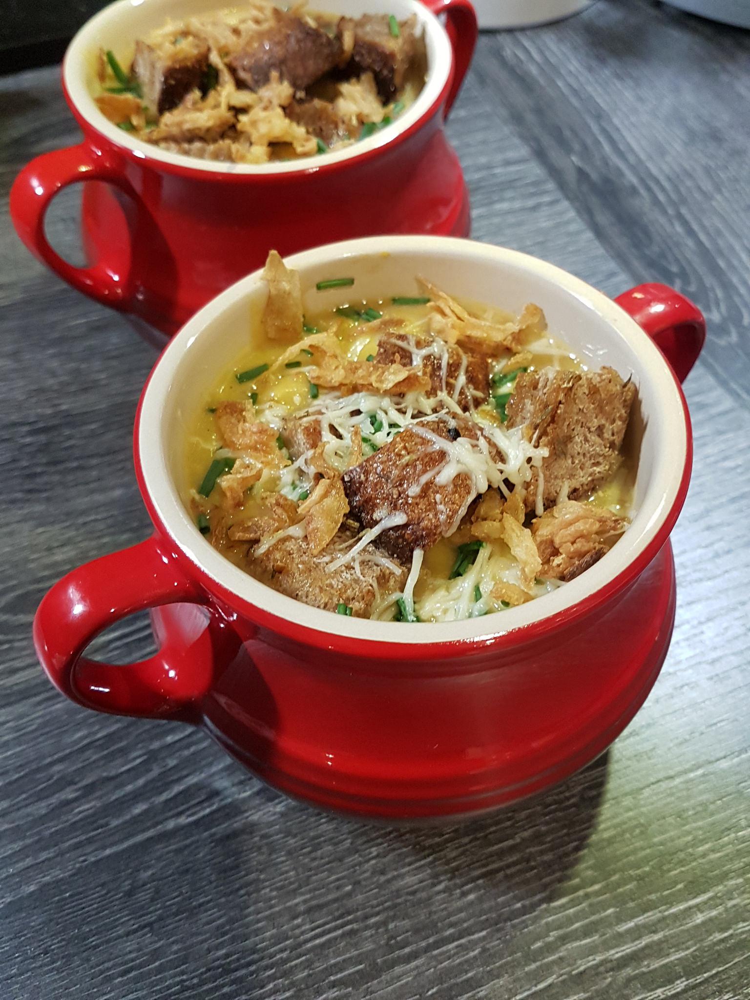 Soupe gratinée oignons rouges & butternut