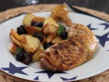 Poulet à la grecque, au citron et aux olives & accord mets et vins