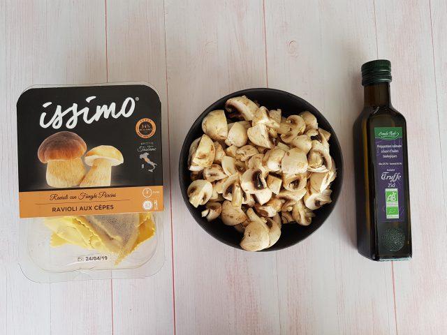 Raviolis, champignons à l'huile de truffe