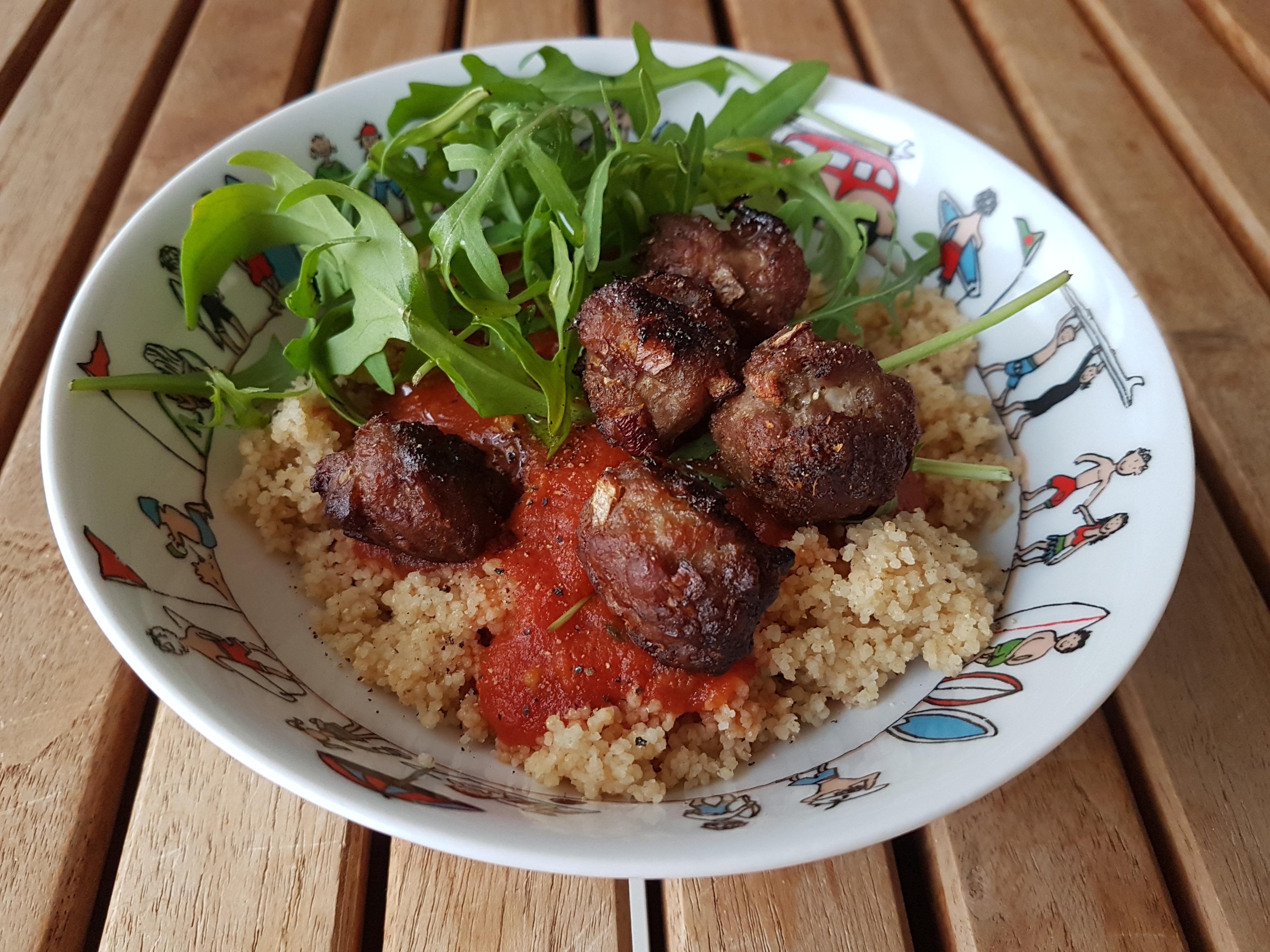 Boulettes de porc, sauce tomate