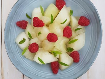 Salade de Melon jaune aux framboises
