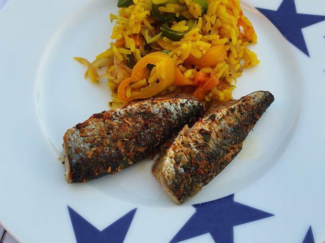 Sardines aux cumin, riz aux poivrons