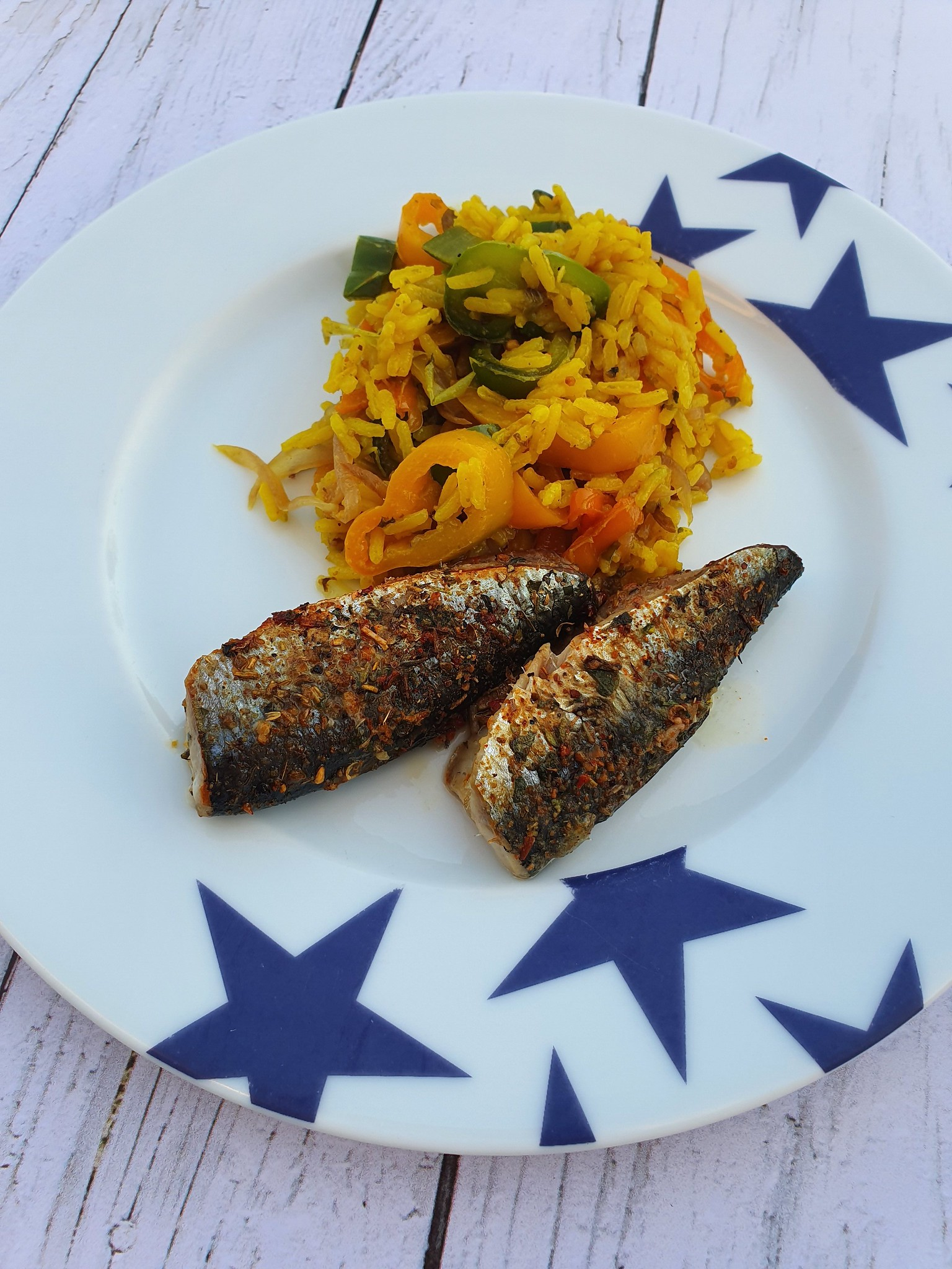 Sardines au cumin, riz aux poivrons