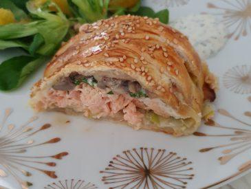 Feuilleté au saumon, poireaux et champignons