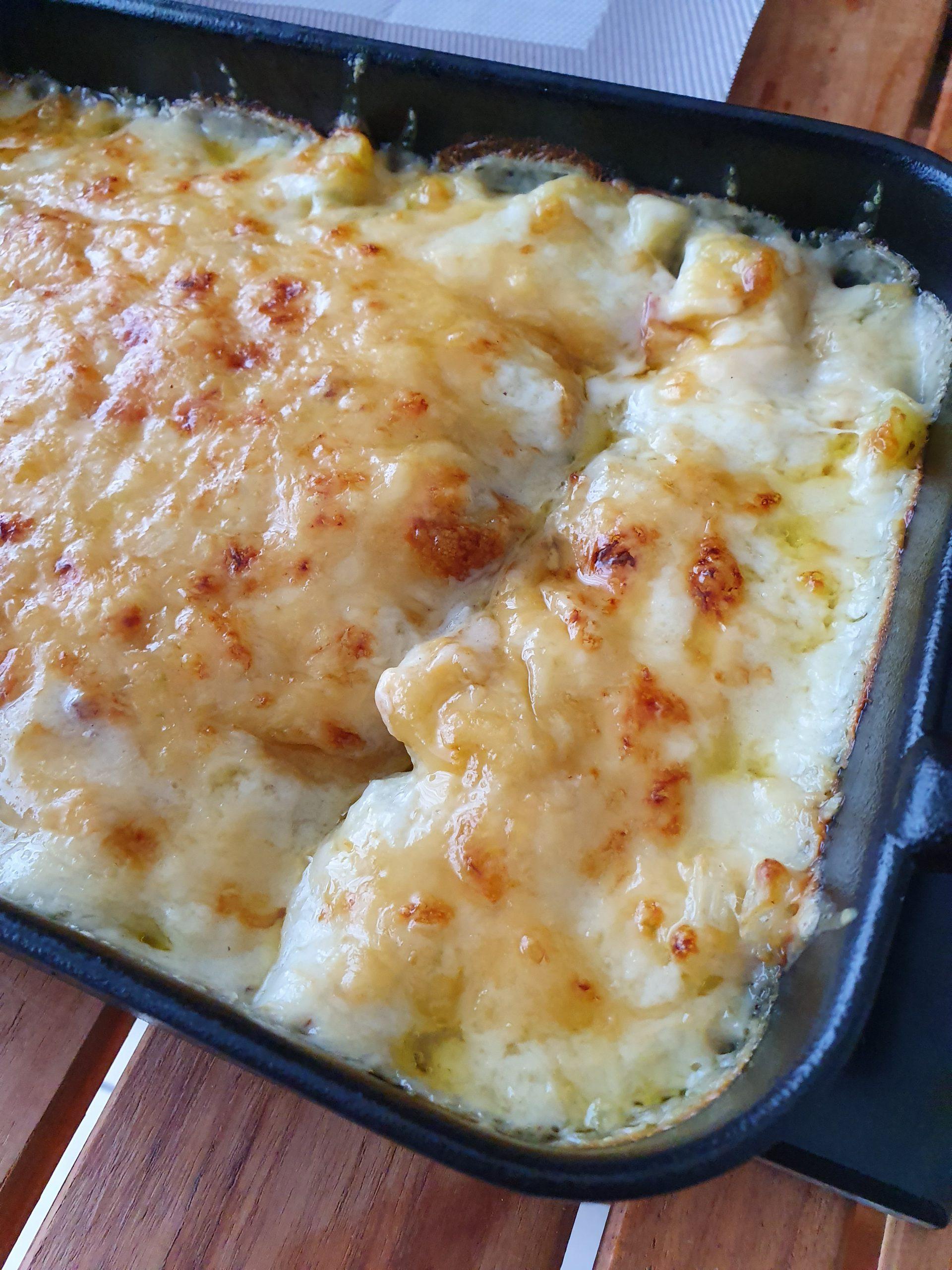 Le gratin de blettes aux pommes de terre et aux lardons